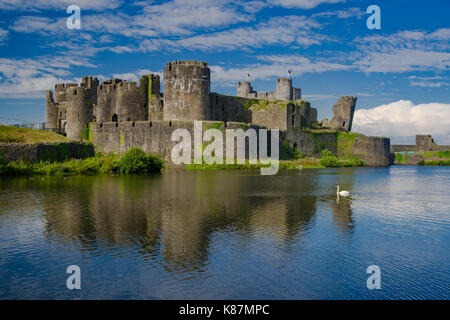 Caerphilly Castle in the summer sun - Stock Photo