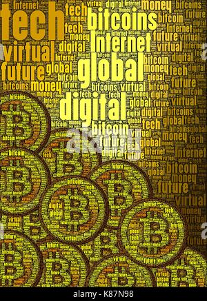 Bitcoin concept art made only using words about the subject, vertical. - Stock Photo