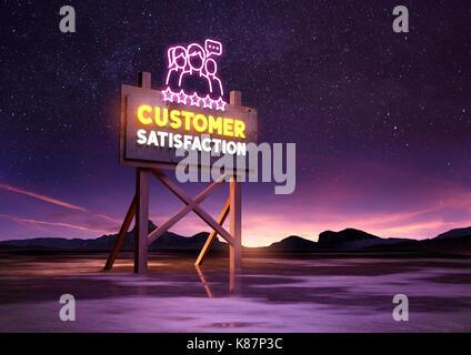 customer satisfaction neon road sign glowing at night. Mixed media illustration - Stock Photo