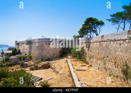 St. Lucas Bastion at the southwest end of the Venetian Fortress (Fortezza). Rethymno, Crete, Greece - Stock Photo
