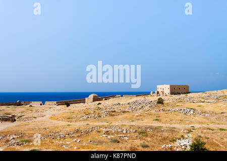 Panoramic view of the walls of the Venetian Fortress (Fortezza) with the sea in the background. Rethymno, Crete, - Stock Photo