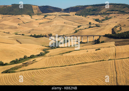 Enna (Sicily, Italy) - View of the fields in central Sicily - Stock Photo