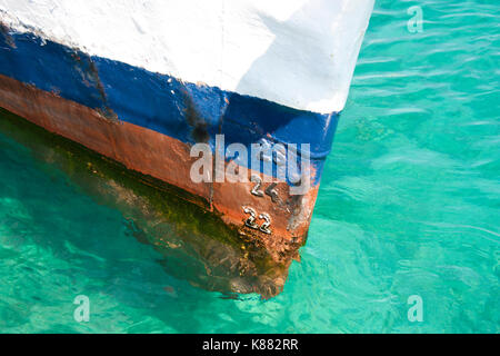 Draft marks on a ship - waterline numbers on bow and stern of a vessel - Stock Photo