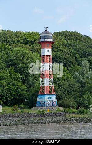 Wittenbergen Lighthouse, Hamburg Rissen, River Elbe, Germany - Stock Photo