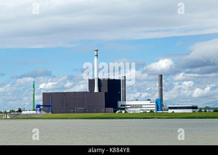 nuclear reactor Brunsbuettel, River Elbe, Schleswig-Holstein, Germany - Stock Photo