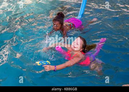 Two Girls Having A Water Gun Fight Stock Photo 86108440 Alamy