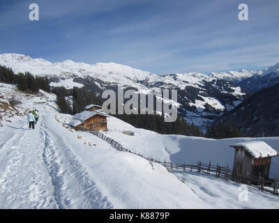 Mayrhofen Mountains. This photo dates to December 2013 and shows a path in the mountains—Alps—behind the town of - Stock Photo