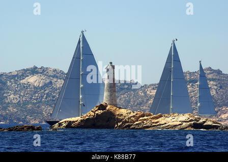 La Maddalena archipelago, Sardinia. Monaci  island lighthouse - Stock Photo