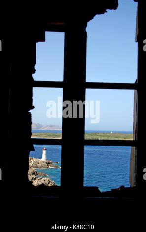 Costa Smeralda, Sardinia. Capo Ferro lighthouse - Stock Photo