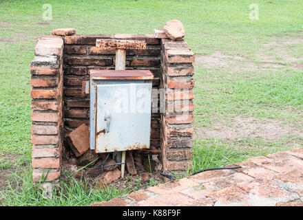Rustry control box for electrical distribution in the historical park. - Stock Photo