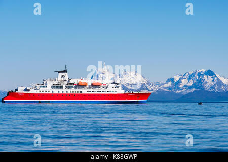 G Adventures Expedition cruise ship at sea in Arctic waters off north Norwegian coast in summer. Helløya, Troms, - Stock Photo