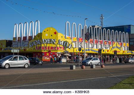 Golden Mile Amusement arcade on the sea front at Blackpool, Lancashire, England, UK - Stock Photo