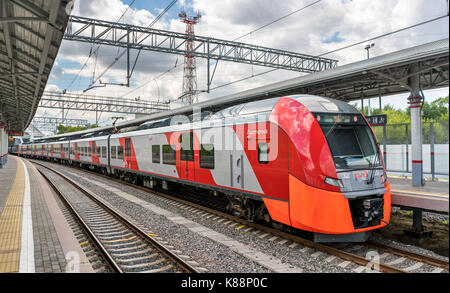 Train at the Moscow Central Circle line. Opened in 2016, it became the 14th line of the Moscow rapid transit system - Stock Photo