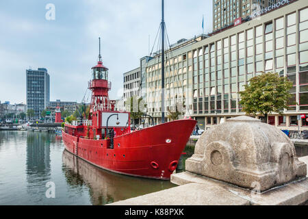 Netherlands, South Holland, Rotterdam, Leuvehaven, lightvessel at the Maritime Museum Harbour - Stock Photo