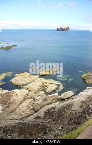 Bass Rock view from the scottish coast, Scotland. UK. - Stock Photo