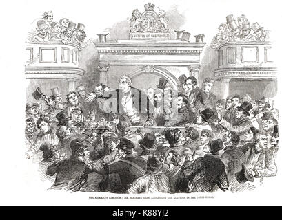 Sir William Shee, champion of Catholic Emancipation addressing the electors in the court-house, Kilkenny, Election, - Stock Photo