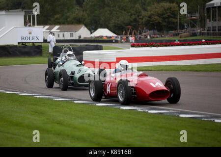 1930 Mercedes-Benz 710 SSKL racing in the Brooklands Trophy on Sunday at Goodwood Revival 2017 Meeting, Goodwood - Stock Photo