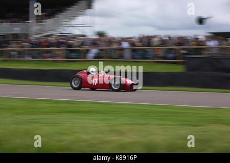 1934 Aston Martin Ulster racing in the Brooklands Trophy on the Sunday at Goodwood Revival 2017 Meeting, Goodwood - Stock Photo