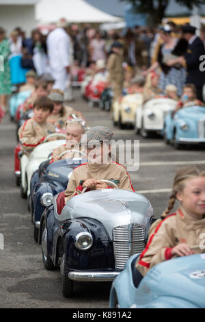 Settrington Cup contest for Austin J40 pedal cars at Goodwood Revival 2017 Meeting, Goodwood race track, West Sussex, - Stock Photo