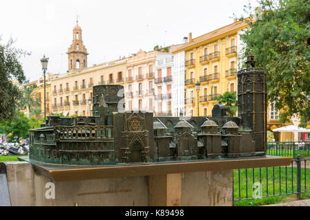 Plaza de la Reina Valencia, brass model of the Valencia cathedral building sited in the Plaza de la Reina in the - Stock Photo