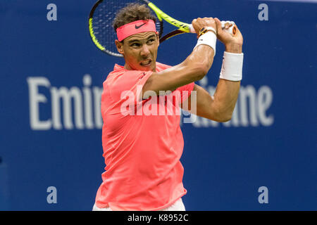 Rafael Nadal (ESP) competing at the 2017 US Open Tennis Championships
