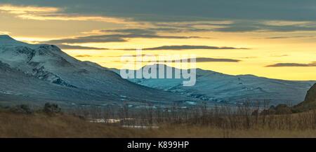Icelandic Scenery In Winter Looking North East From Vopnafjordur Towards Vatnajokull National Park - Stock Photo