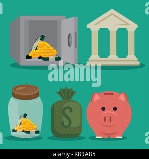 set saving money icon vector illustration graphic design - Stock Photo