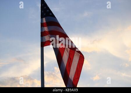 American Flag Waving - Stock Photo