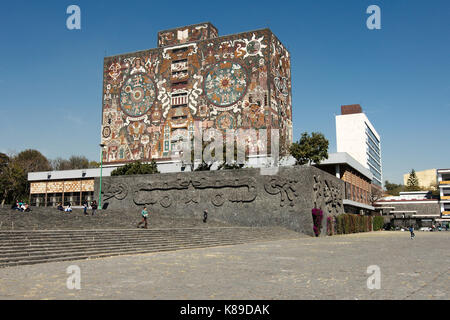 Mexico City, Mexico - 2013:  Central Library of the National Autonomous University of Mexico (UNAM), created by - Stock Photo