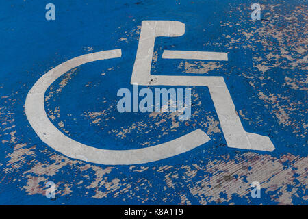 Disability symbol on the floor - Stock Photo