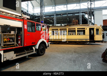 Route der Industriekultur, Loeschfahrzeug und historische Strassenbahn, DASA, Deutsche Arbeitswelt Ausstellung in - Stock Photo