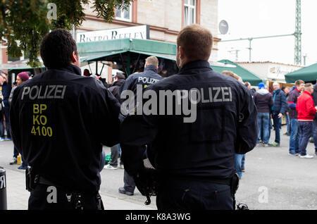 Frankfurt am Main, Germany - March 18, 2017: Police security in Frankfurt am Main during a Bundesliga football match, - Stock Photo