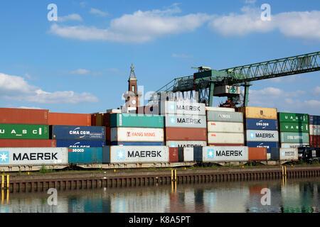 Containerterminal und Altes Hafenamt im Hafen von Dortmund, Ruhrgebiet, Nordrhein-Westfalen - Stock Photo