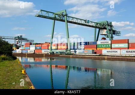 Containerterminal im Hafen von Dortmund, Ruhrgebiet, Nordrhein-Westfalen - Stock Photo