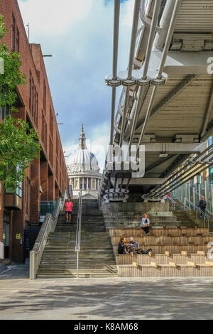 London, Uk - August 3, 2017: View of St. Paul's Cathedral from the riverside underneath the Millennium Bridge.  - Stock Photo