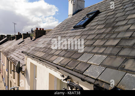 Roof tiles on a terrace row of old houses. - Stock Photo