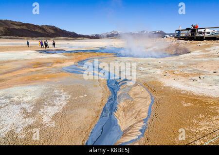 Námafjall Hverir geothermal area, Iceland - Stock Photo