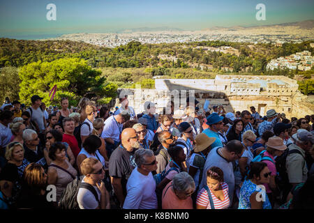 Crowd of Tourists queueing up to enter The Propylaea of the Athen Acropolis in Athens, Greece, Europe, Sep 2017 - Stock Photo