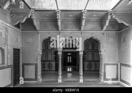 JAIPUR, RAJASTHAN, INDIA - MARCH 11, 2016: Black and white picture beautiful architecture inside of Nahargarh Fort, - Stock Photo