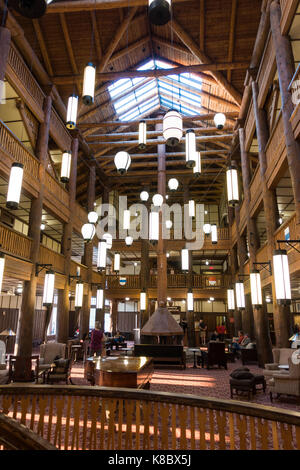 Main lobby at the historic Swiftcurrent Lodge / hotel inside the Glacier National Park, Montana