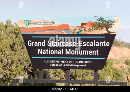 Grand Staircase - Escalante National Monument sign near Escalante, Utah. - Stock Photo