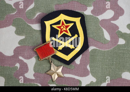 The Gold Star medal is a special insignia that identifies recipients of the title 'Hero' in the Soviet Union on - Stock Photo