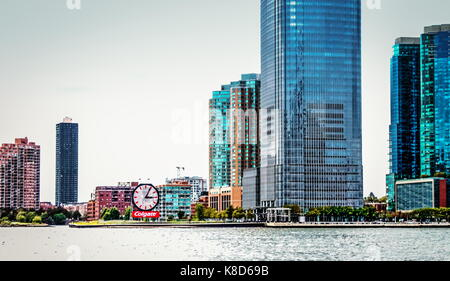 New Jersey, USA - 28 September, 2016: Close up of Waterfront Buildings lining the Hudson River in Jersey City. - Stock Photo
