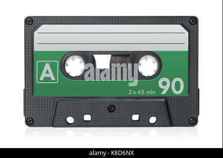 Audio cassette tape isolated on a white background. - Stock Photo