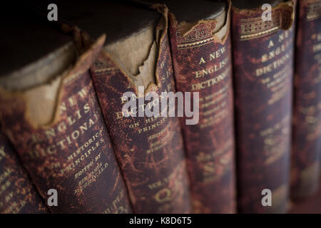 Antiquarian copies of The New English Dictionary on Historical Principles edited by Sir James Murray, line shelves - Stock Photo