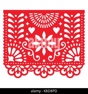 Mexican paper decorations - Papel Picado vector design, traditional fiesta banner inspired by garlands in Mexico - Stock Photo