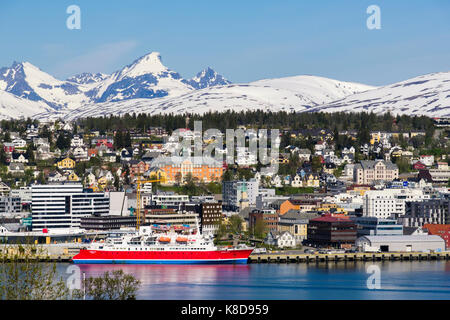 G Adventures cruise ship Expedition in port on Tromsoya island in summer. Tromso, Troms, Norway, Scandinavia - Stock Photo