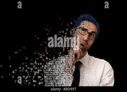 Digital man with code - Stock Photo