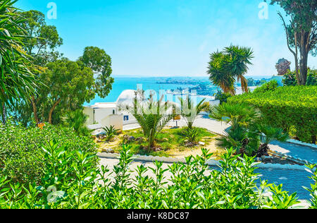The lush juicy garden in Sidi Bou Said with the scenic view on the sea on the distance, Tunisia. - Stock Photo