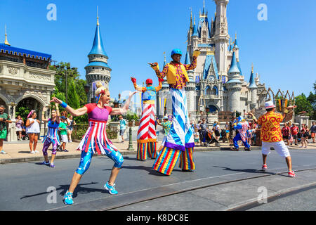 Street entertainment at Walt Disney's Magic Kingdom theme park, Orlando, Florida, USA - Stock Photo